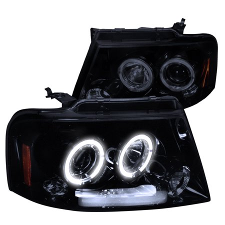 Spec-D Tuning 2004-2008 Ford F150 Twin Halo Rims Projector Led Headlights 2004 2005 2006 2007 2008 (Left + Right)