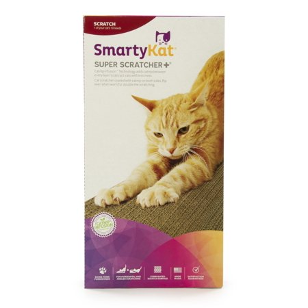 SmartyKat? Super Scratcher+? Double Wide Corrugate Cat Scratcher with Infused - Horizontal Scratcher