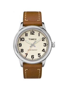 Men's New England Cream Dial Watch, Tan Leather Strap