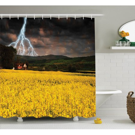 Lake House Decor Shower Curtain Set, Thunderstorm Over The Meadow Valley With Scary Dark Sky Rural Farm Scenery, Bathroom Accessories, 69W X 70L Inches, By Ambesonne](Scary Rotten Farms)