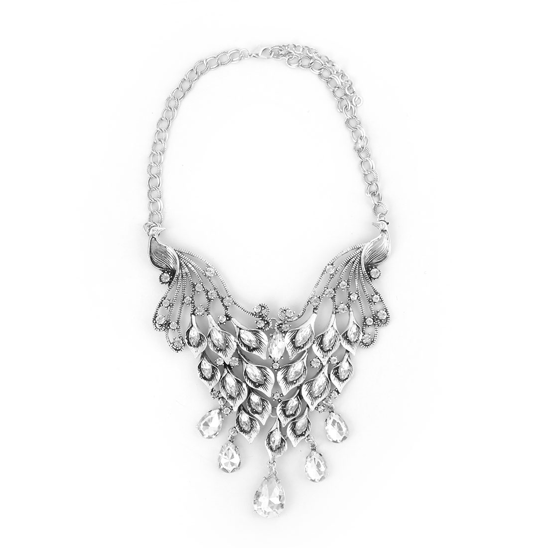 Women Metal Double Peacock Design Pendant Bib Collar Choker Necklace Silver Tone