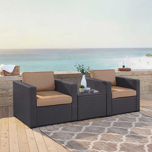Biscayne 2 Person Outdoor Wicker Seating Set In Mocha - Two Outdoor Wicker Chairs & Coffee Table