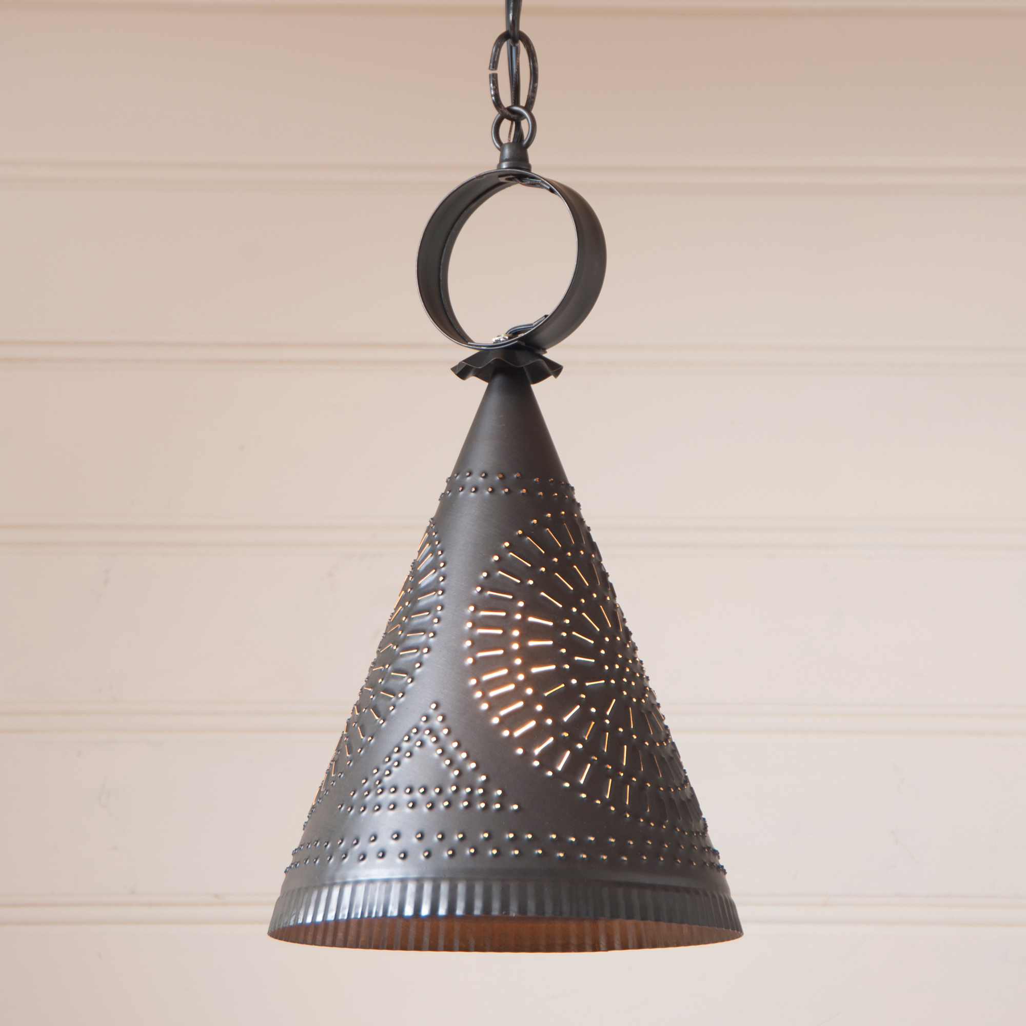 Madison Witch's Hat Pendant in Kettle Black Punched Tin