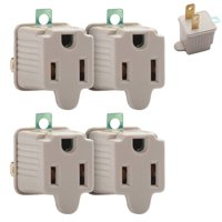 4 Set 3 Prong to 2 Prong Outlet Electrical Ground AC Adapter Grounding Converter