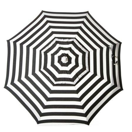 DestinationGear Italian 6' Umbrella Acrylic Stripes Black and White Bar Height Pole