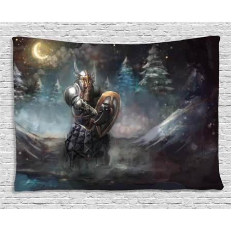 Fantasy Tapestry, Medival Dwarf Knight in Gothic Shield at Battle Place Winter Illustration, Wall Hanging for Bedroom Living Room Dorm Decor, 60W X 40L Inches, Grey Light Blue Gold, by (Best Place To Use Dwarf Cannon)