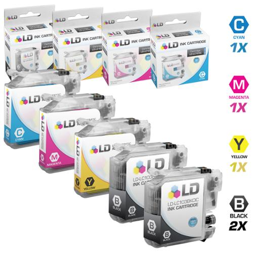 LD Compatible Brother LC103 Set of 5 Cartridges: 2 Black and 1 each of Cyan / Magenta / Yellow for the MFC J245, J285DW, J450DW, J470DW, J475DW, J650DW, J6520DW, J6720DW, J6920DW,J870DW, J875DW