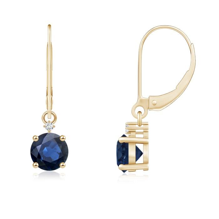 Angara Leverback Blue Sapphire Earrings in Yellow Gold XEbWKOe