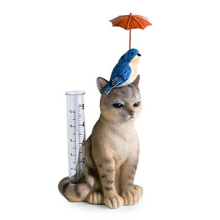 Cat and Bird Fanciful and Functional Garden Rain Gauge Garden Rain Gauge