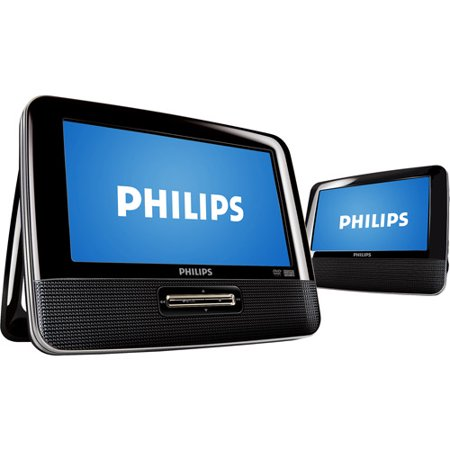 "Philips 7"" LCD Dual-Screen Portable DVD Player, PD7012/37"