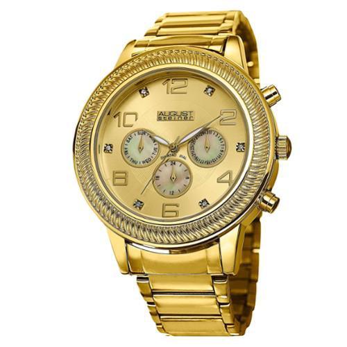 August Steiner  Men's Diamond Swiss Quartz Multifunction Gold-Tone Bracelet Watch