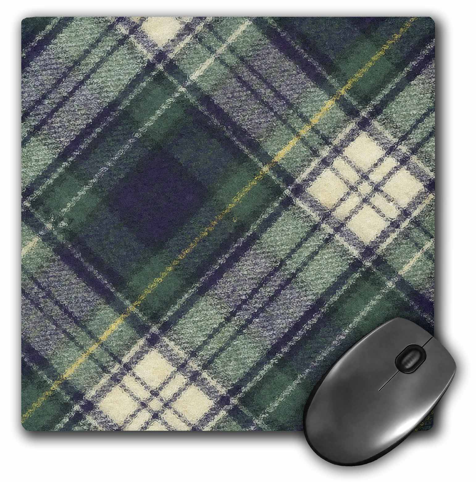3dRose Blue Watch Plaid, Mouse Pad, 8 by 8 inches