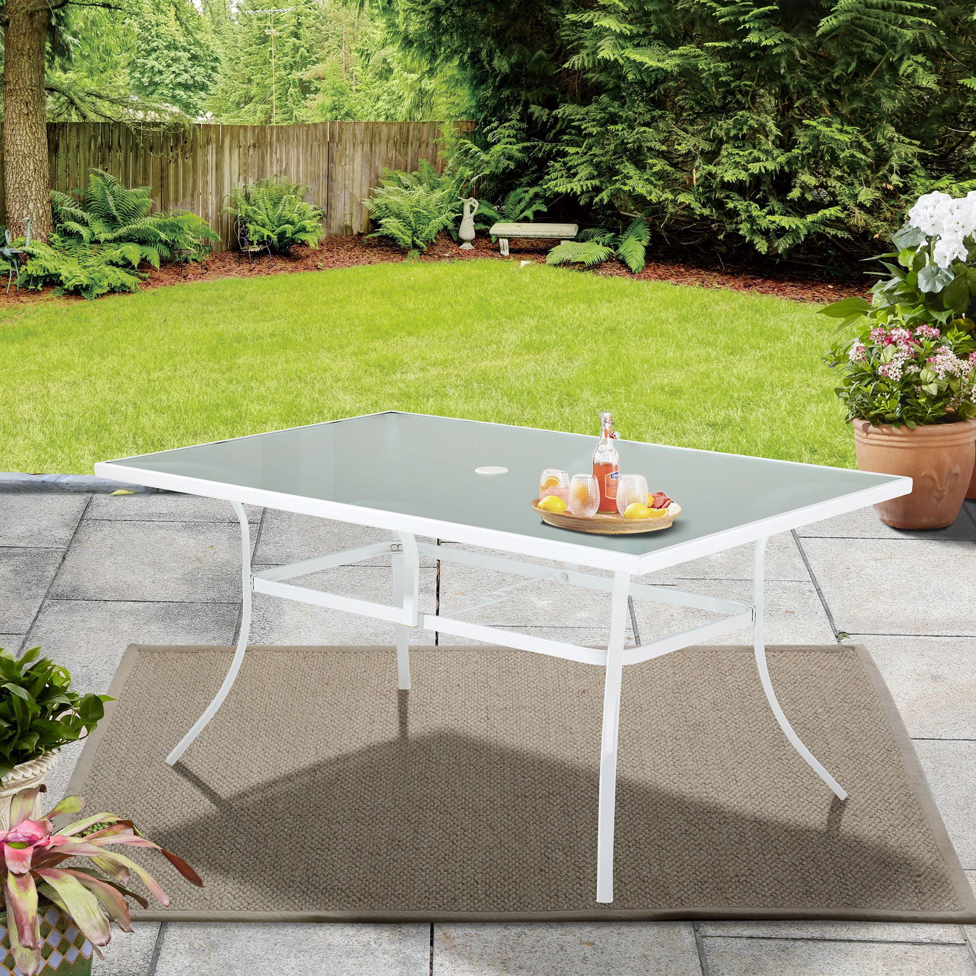 Mainstays 60 Rectangle Glass Top Outdoor Patio Dining Table White Walmart Com Walmart Com