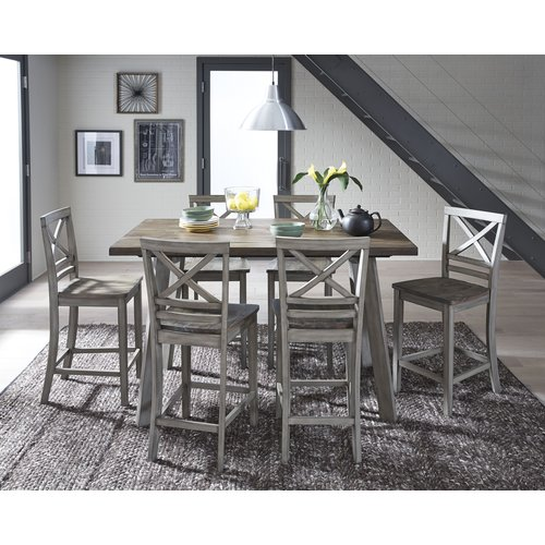 August Grove Crum 7 Piece Counter Height Wood Dining Set