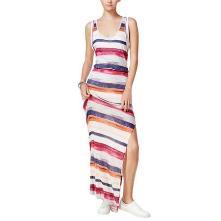 Silk Blouson Printed Dress (CHELSEA SKY Womens Burgundy Layered Striped Sleeveless Scoop Neck Maxi Blouson Dress  Size: M)