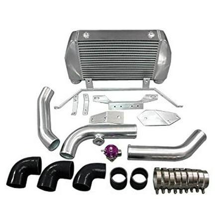 Front Mount Intercooler Kit + BOV For Mazda RX7 RX-7 FD Single Stock Turbo  black