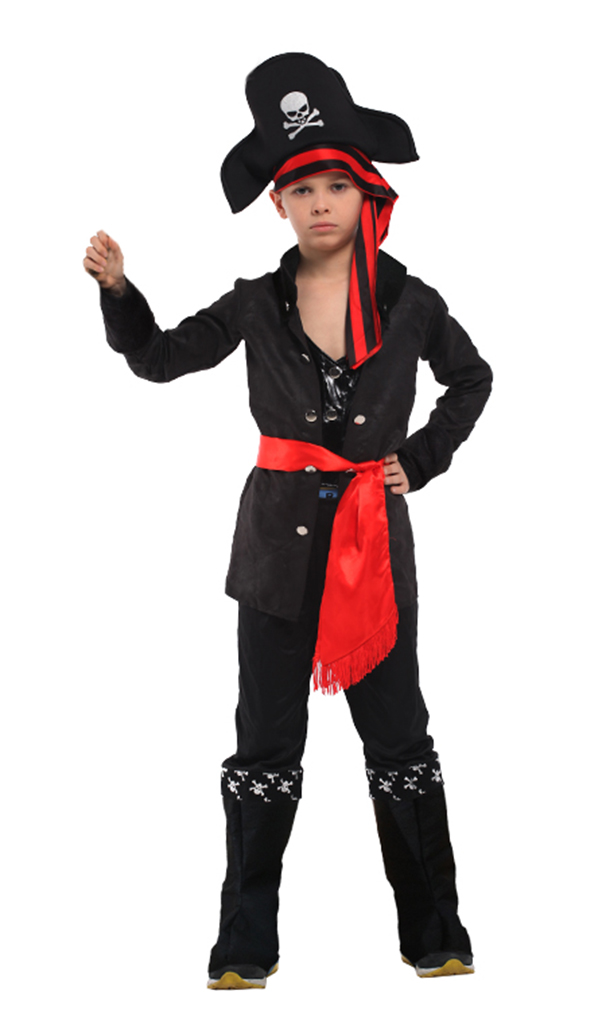 Boys' Carribean Pirate Costume Set with Shirt, Pants, Hat, Belt, L by