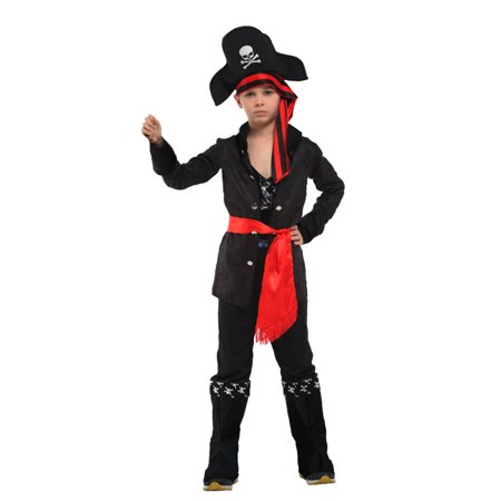 Boys' Carribean Pirate Dress-Up Play Costume Set with Shirt, Pants, Accessories