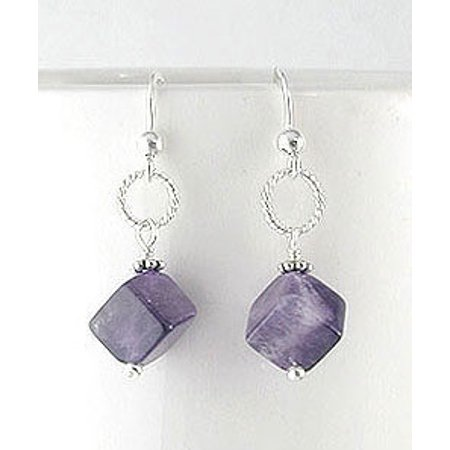 (Cubed Amethyst Gemstone Bead Drops Sterling Silver Hook Earrings)