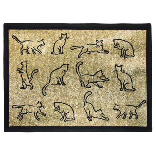 Park B Smith Ltd PB Paws & Co. Gold / Black Kitten Fun Tapestry Indoor/Outdoor Area Rug