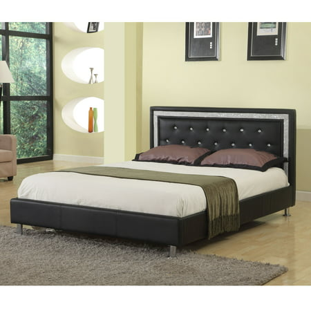 Best Master Furniture Queen Upholstered Platform Bed, Faux Leather.