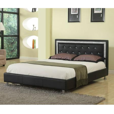 Best Master Furniture Queen Upholstered Platform Bed, Faux