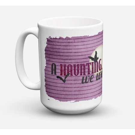 A Haunting we will go Halloween Dishwasher Safe Microwavable Ceramic Coffee Mug 15 ounce SB3015CM15 - Safe Space Yale Halloween