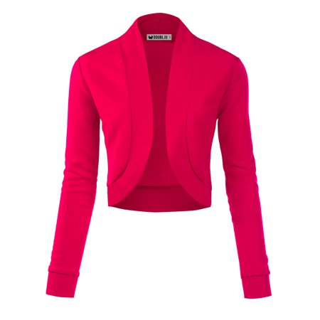 96c5c8ec26d Doublju Women s Casual Work Office Open Front Cardigan Jacket FUCHSIA 3X Plus  Size