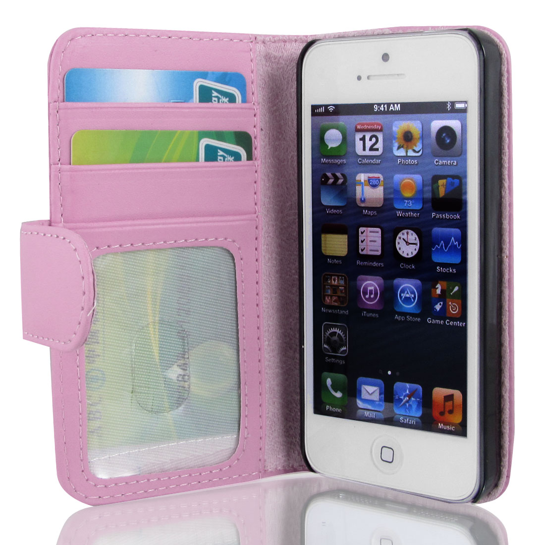Unique Bargains Pink Faux Leather Protective Flip Cover Case Pouch Wallet for iPhone 5 5G 5th