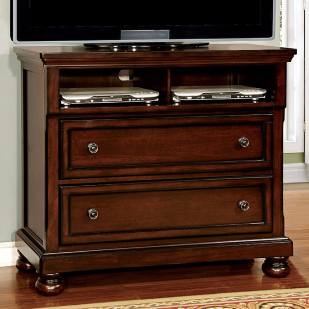 Northville Transitional Style Wood Media Chest, Dark Cherry