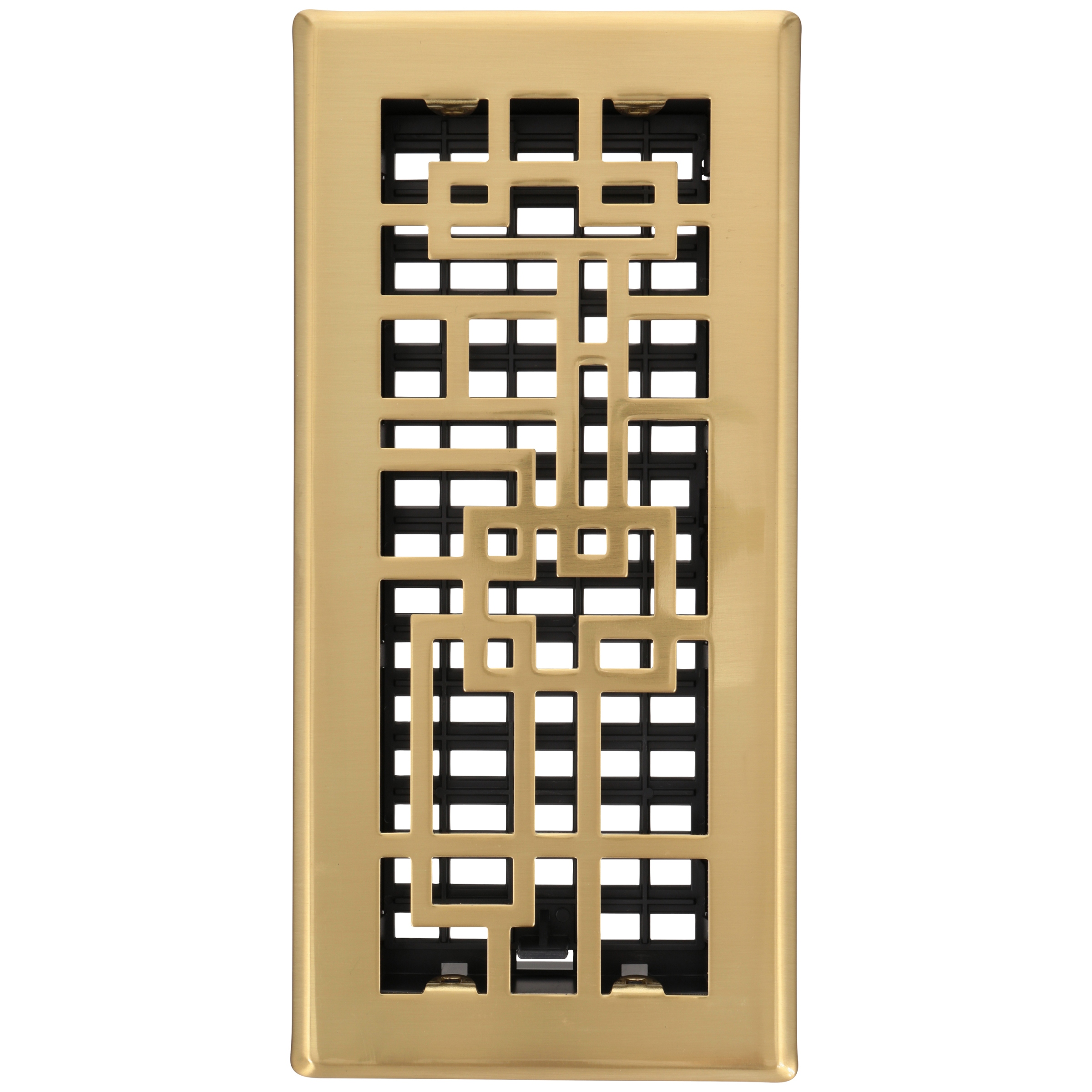 Decor Grates® Abstract™ Steel Plated Satin Brass Floor Register