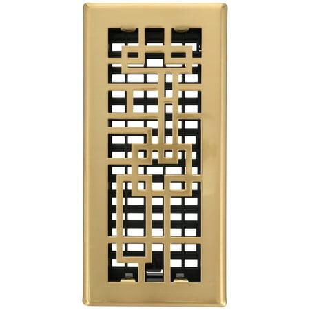 Decor Grates® Abstract⢠Steel Plated Satin Brass Floor Register