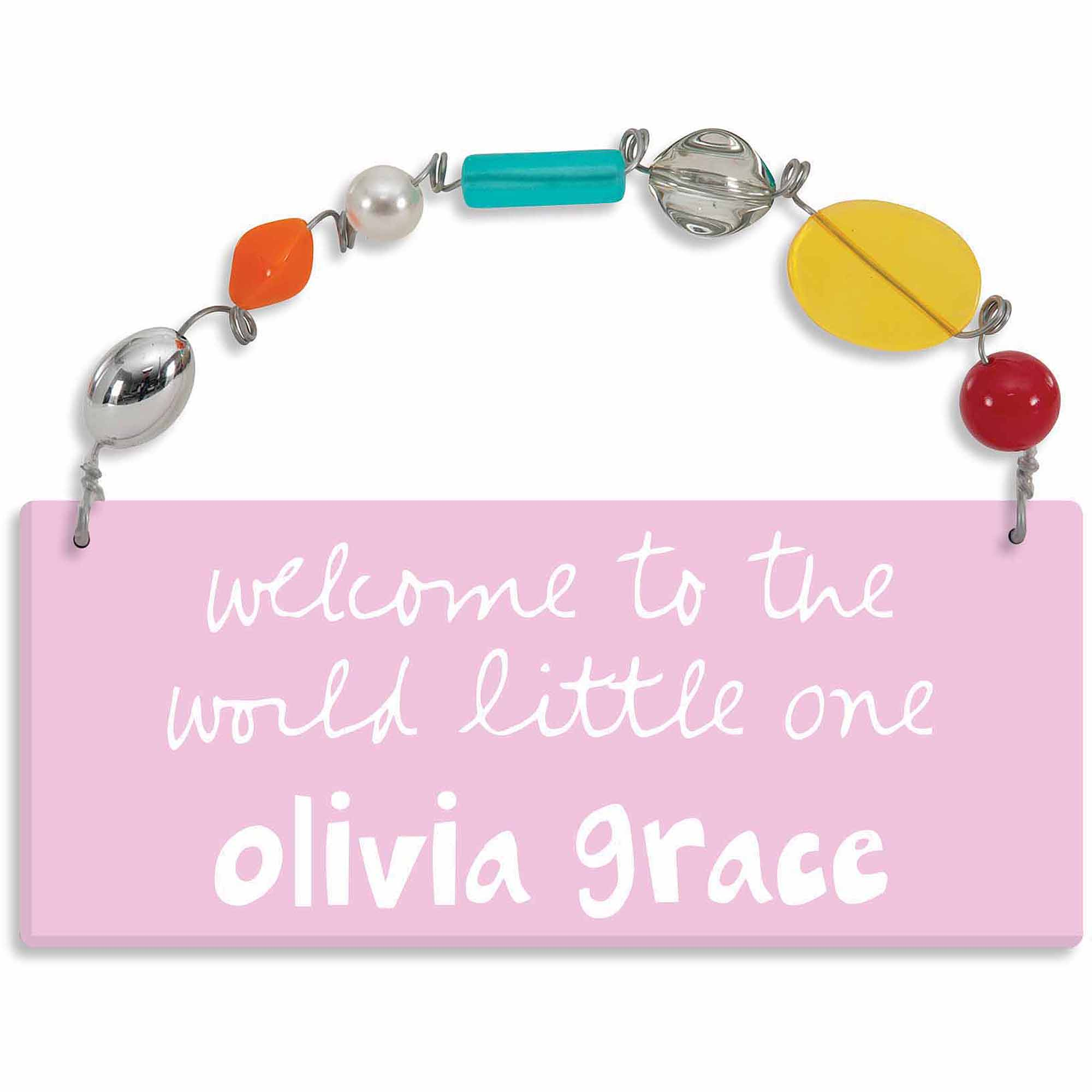 Personalized Sandra Magsamen Welcome To The World Girl's Wall Plaque
