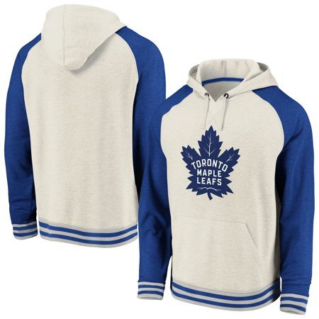 Toronto Maple Leafs Fanatics Branded Oatmeal Raglan Tri-Blend Pullover Hoodie - Cream/Blue Toronto Maple Leafs Pullover