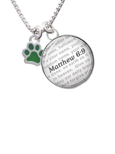 Mini Translucent Green Paw Bible Verse Matthew 6:9 Glass Dome Necklace by Delight and Co.