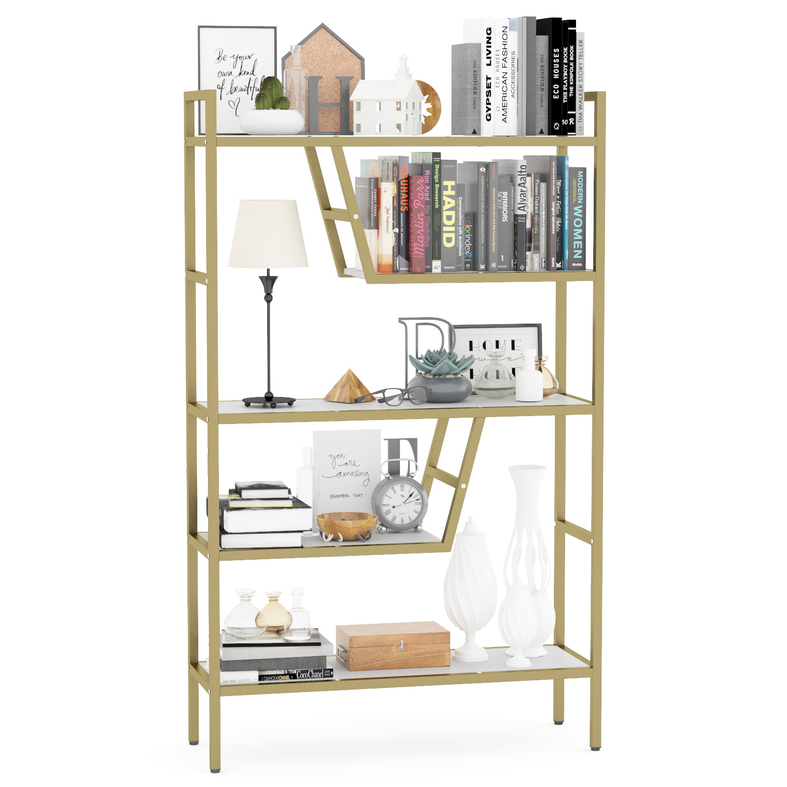 Multifunctional 5 Shelf Metal Bookcase Ladder Plant Flower Stand Diy Rack Storage Gold Walmart Com Walmart Com