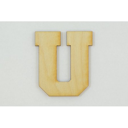 1 Pc, 5 Inch X 1/4 Inch Thick Collegiate Font Wood Letters U Easy To Paint Or Decorate For Indoor Use Only ()