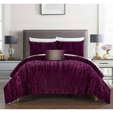 Velvet Comforter Set Bed (Chic Home Kerk 8 Piece Comforter Set Crinkle Crushed Velvet Bed in a)