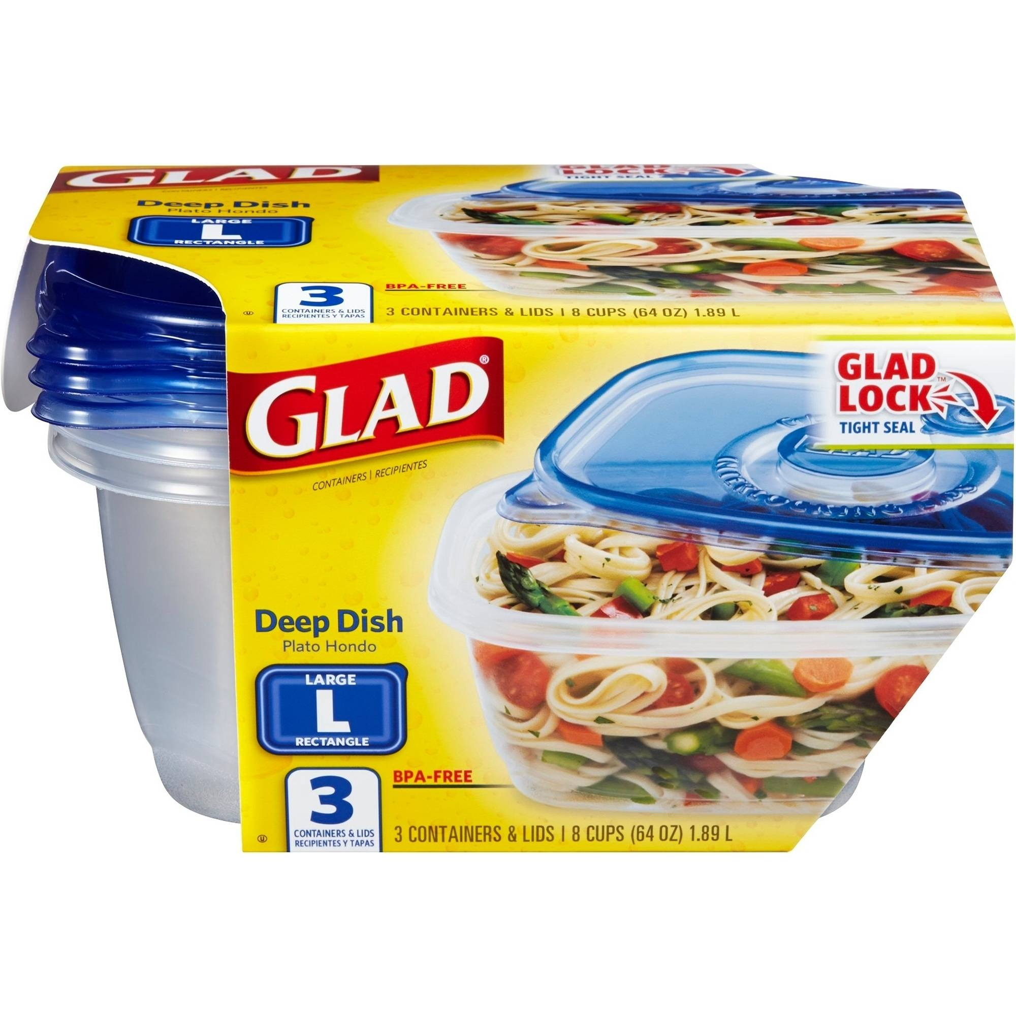 Glad Food Storage Containers, Deep Dish, 64 Ounce, 3 Count, BPA Free