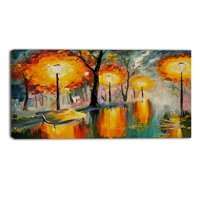 Design Art Street in Autumn Landscape Painting Print on Wrapped Canvas