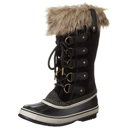 Sorel Women's Joan Of Arctic Black / Stone Mid-Calf Leather Snow Boot - (Black Patent Leather Stretch Boots)