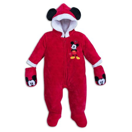 Disney Store Mickey Holiday Footed Bodysuit Romper Baby Boy Girl Size 18/24M