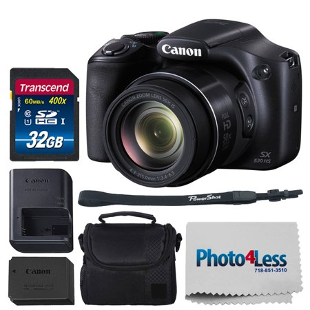 Canon SX530 HS PowerShot Digital Camera w/ 50x Optical Zoom & Built-in Wi-Fi (Black) + 32GB SDHC Memory Card Premium + Camera Case (Black) + Small Camera/Video Case + Photo4Less Cleaning (Best Small Canon Camera)