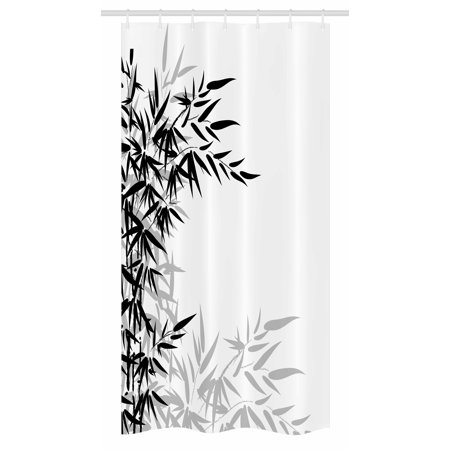 - Bamboo Stall Shower Curtain, Bamboo Leaves on Clear Simple Background Organic Life Artistic Illustration, Fabric Bathroom Set with Hooks, 36W X 72L Inches Long, Black and White, by Ambesonne