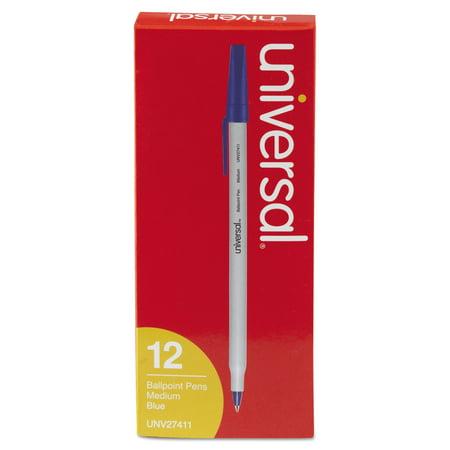 Stick Ballpoint Pen, Medium 1mm, Blue Ink, Gray Barrel, Dozen Barrel Blue Ink Pens