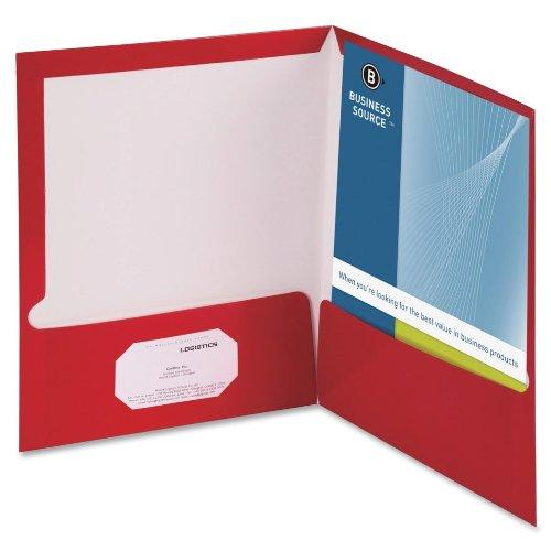 "Business Source Two-pocket Folders With Business Card Holder - Letter - 8.50"" X 11"" - 100 Sheet Capacity - 2 Pockets - Card Paper - 25 / Box (BSN44428)"
