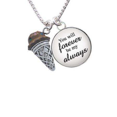 3 D Resin Chocolate Ice Cream Cone With Crystals You Will Forever Be My Always Glass Dome Necklace  18  2