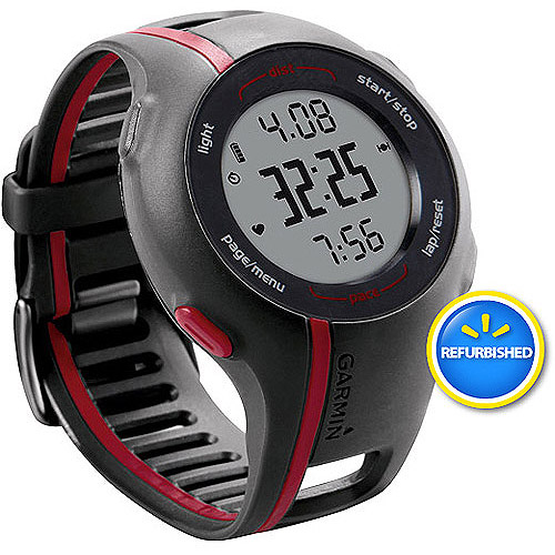 Garmin Refurbished Forerunner 110 GPS-Enabled Sport Watch with Heart Rate Monitor, Black/Red