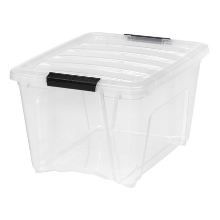 - IRIS 32 Quart Stack & Pull™ Box, Clear with Black Handles