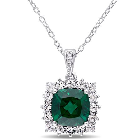 2-1/4 Carat T.G.W. Created Emerald and Created White Sapphire with Diamond-Accent Sterling Silver Halo Pendant, 18 Blue Sapphire Emerald Necklace